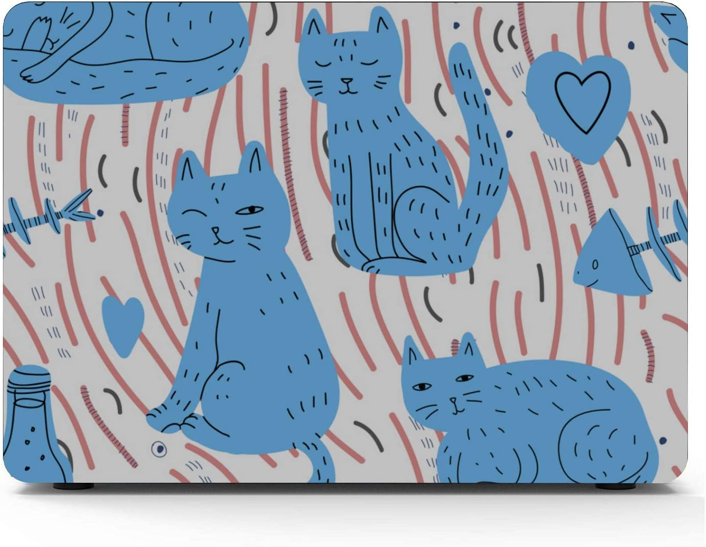 MacBook Air Computer Case Cat Eating Fish Simple Plastic Hard Shell Compatible Mac Air 11 Pro 13 15 Case MacBook Pro Protection for MacBook 2016-2019 Version