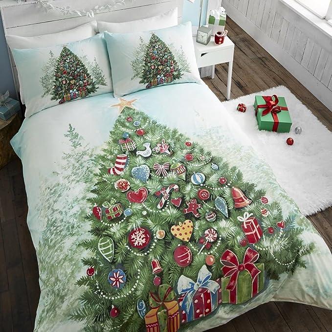 Tony's Textiles - Parure de lit - motifs Père Noël - Sapin de Noël - lit 1 personne