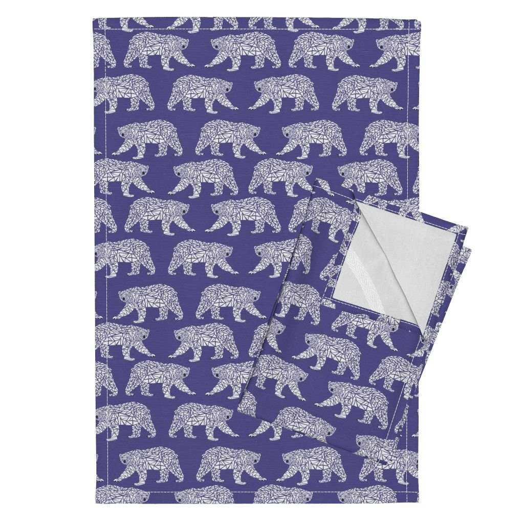 Roostery Geometric Polar Bear Purple Bear Arctic Animal Kids Tea Towels Geometric Polar Bear - Purple by Charlottewinter Set of 2 Linen Cotton Tea Towels by Roostery