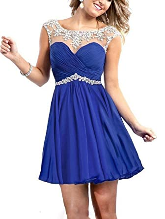 BRLMALL Womens Short Prom Dresses Beaded Homecoming Dress for Juniors Birthday Dress