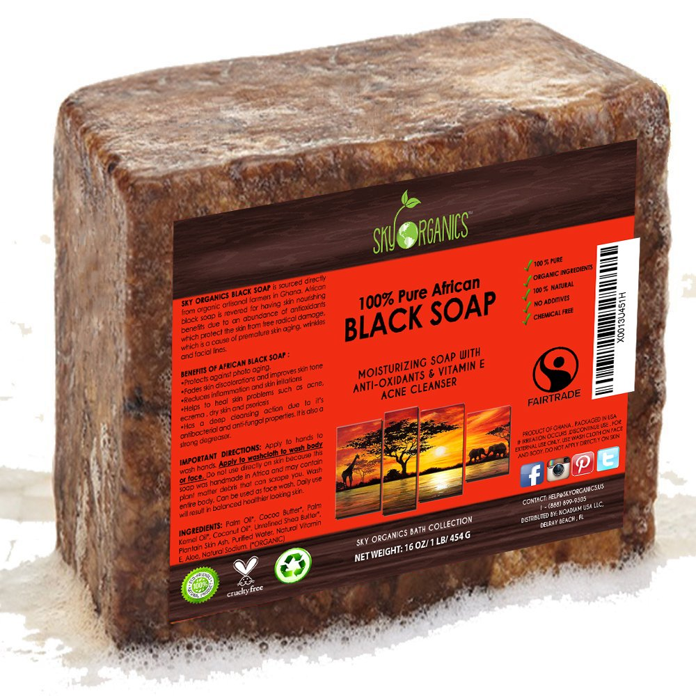 Organic African Black Soap (16oz block) - Raw Organic Soap Ideal for Acne, Eczema, Dry Skin, Psoriasis, Scar Removal, Face & Body Wash, Authentic Black Soap From Ghana with Cocoa, Shea Butter & Aloe Sky Organics BSOAP16