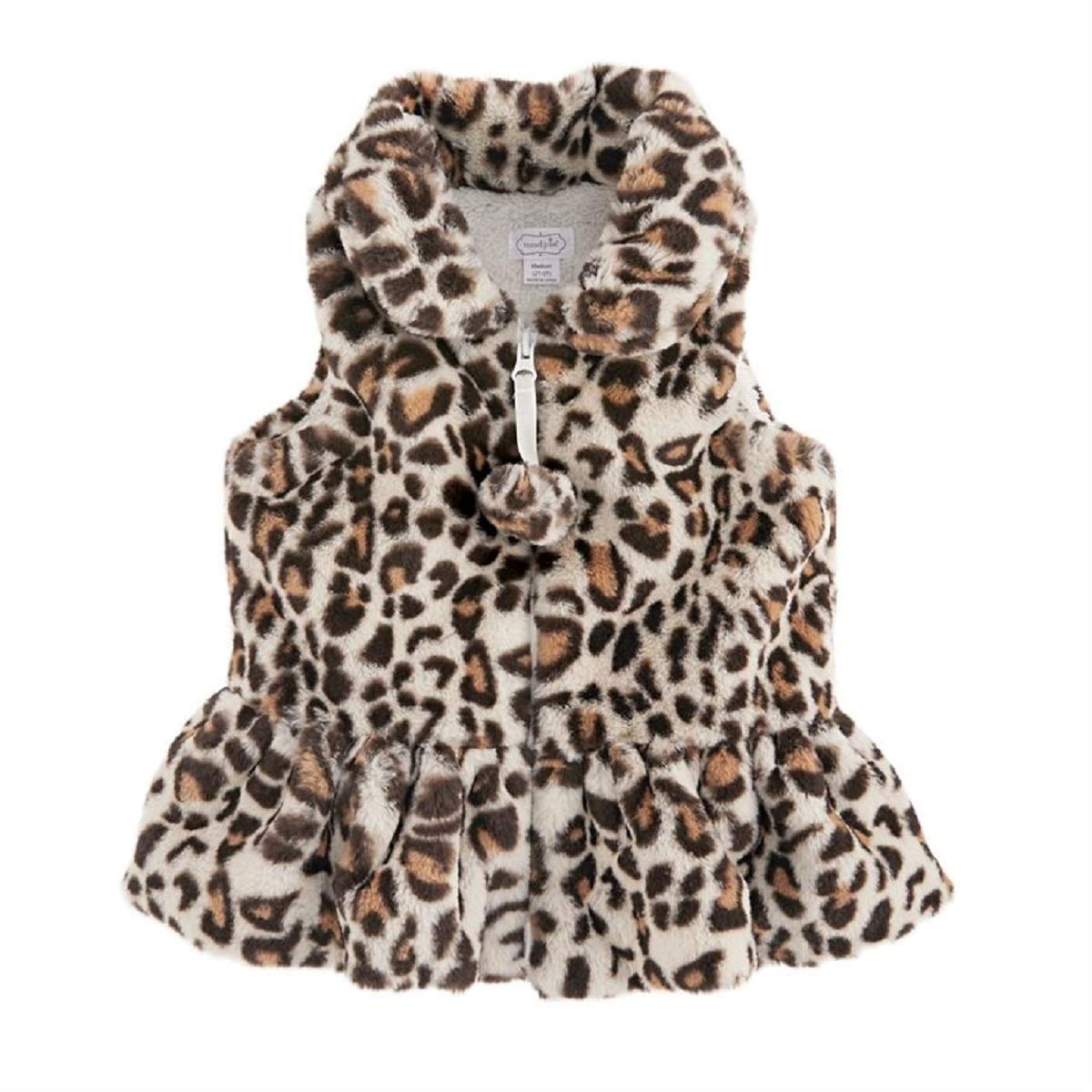 Mud Pie Baby Girl Faux Leopard Fur Vest (Ivory, Medium (2T-3T)) by Mud Pie
