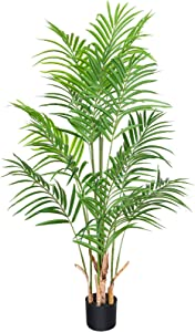 CROSOFMI Artificial Areca Palm Plant 4.6Feet Fake Palm Tree with 15 Leaves Faux Yellow Palm in Pot for Indoor Outdoor House Home Office Modern Decoration Perfect Housewarming Gift