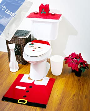 EBASE Santa Toilet Seat Cover Rug Tissue Box Bathroom Set For Christmas Decoration