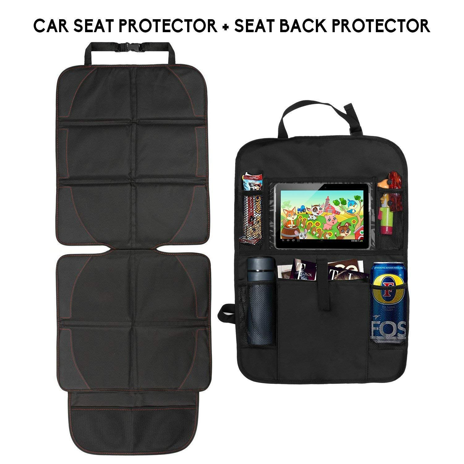 Baby Car Seat Protector+Seat Back Organiser Set for Child with iPad and Tablet Holder Cozywind Auto Seat Protector Kick Mat Car Back Seat Organisers Kids with 5 Pockets Storage