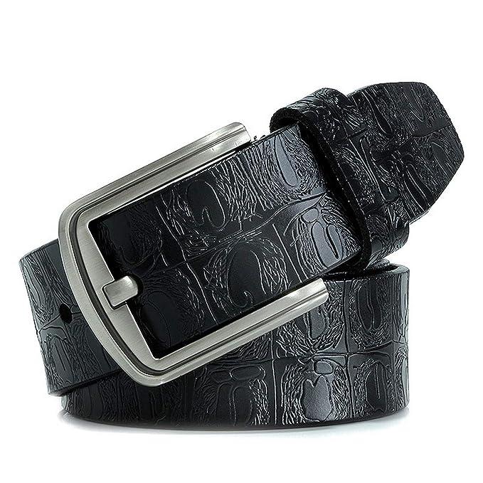 Men Fashion Belt Genuine Leather Blue Automatic Buckle Black Blue 9 Styles Belt