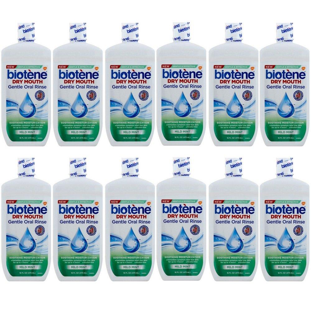 Biotene Moisturizing Oral Rinse, Mild Mint 16 Ounce (12 pack)