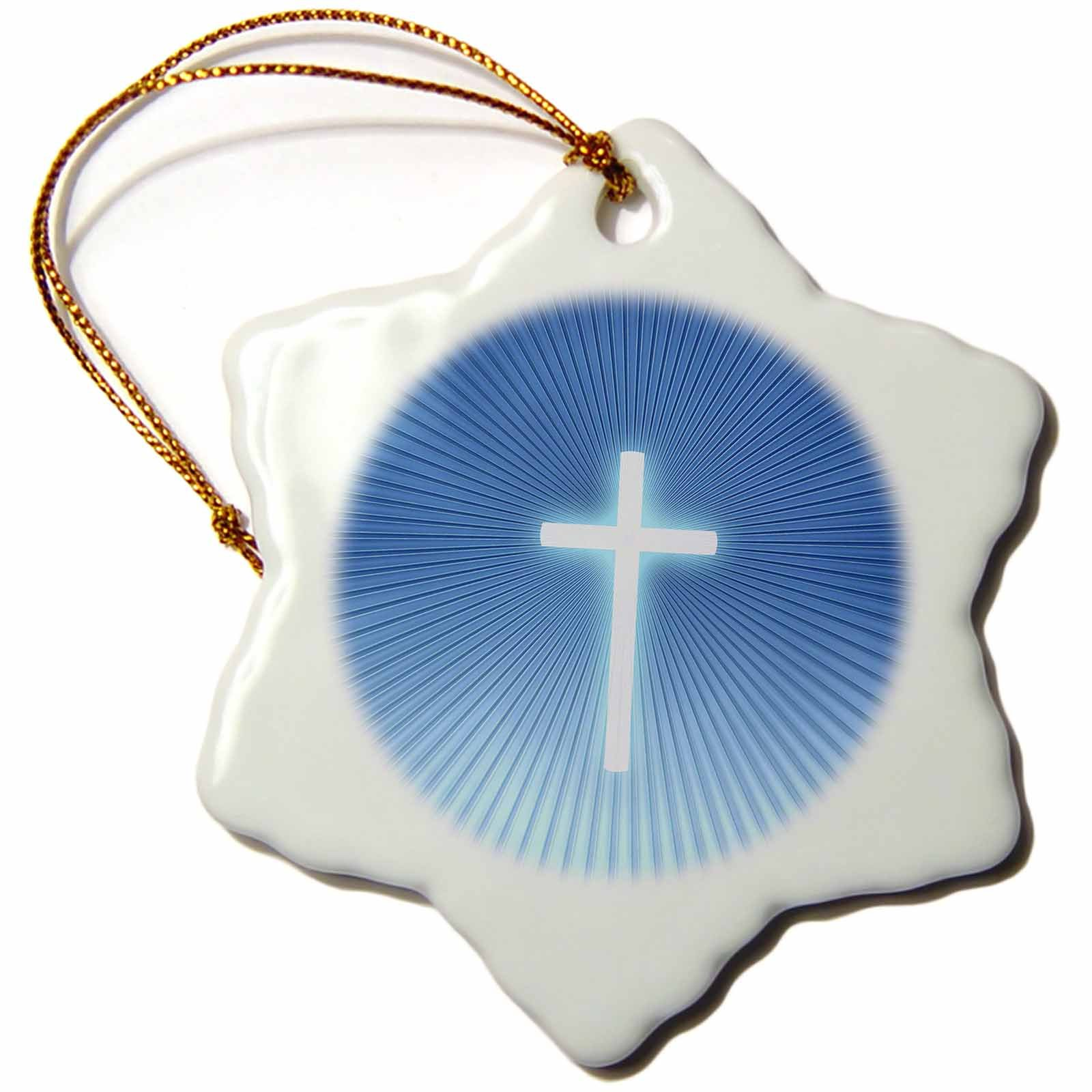3dRose orn_41757_1 Christian Cross Symbol on Blue Backround with Rays-Snowflake Ornament, 3-Inch, Porcelain