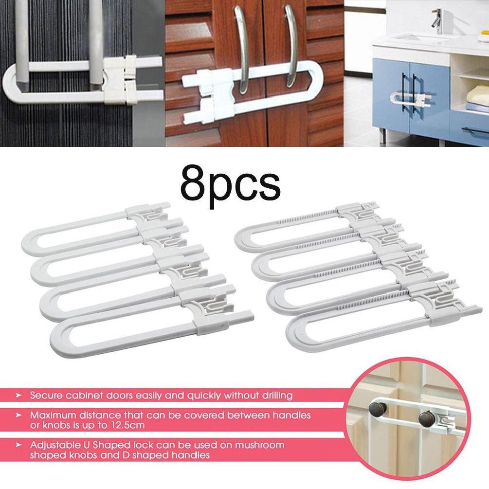 ESSAOAT Home Decor 8X U Shape Locks Toddler Safety Cabinet Door Drawer Lock for Baby Kid Child