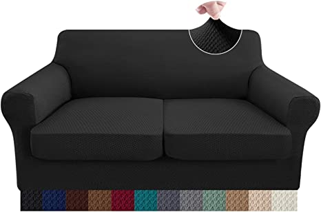 1 Seater, Black Granbest Super Stretch Velvet Sofa Cushion Covers Thickened Sofa Seat Covers Couch Cushion Cover for 1 Seater Sofa with Elastic Band Microfiber Fabric