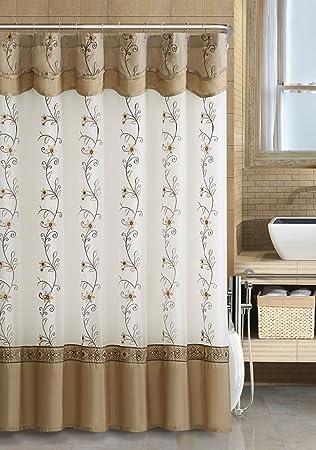 Amazon.com: VCNY® Luxurious Daphne Embroidered Sheer U0026 Taffeta Fabric  Shower Curtains By GoodGram®   Assorted Colors (Cinnamon): Home U0026 Kitchen