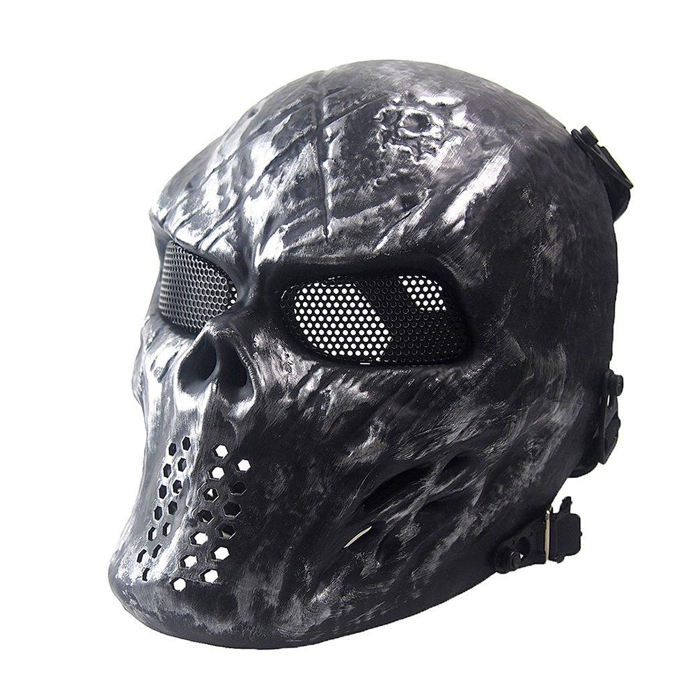NINAT Airsoft Skull Masks Full Face - Tactical Mask Eye Protection for CS Survival Games BBS Shooting Masquerade Halloween Cosplay Movie Props Zombie Scary Skeleton Masks Silvergrey by NINAT