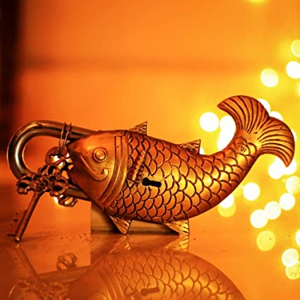 Two Moustaches Golden Fish Design Functional Brass Lock with 2 Keys Padlocks   Hasps