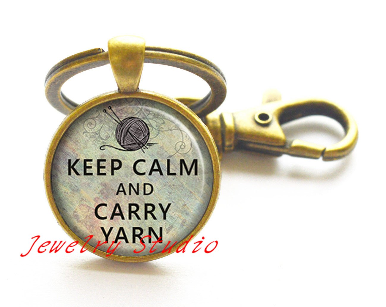 Keep Calm y Carry hilo llavero, llavero de tejer tejer ...