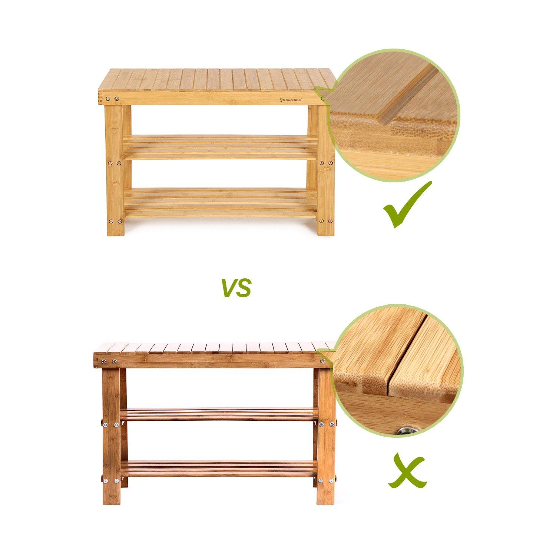 Schuhschrank mit Sitzbank 70 x 28 x 45 cm ideal f/ür Flur Diele LBS04N Bad Wohnzimmer Bambus Schuhbank mit 3 Ablagen SONGMICS Schuhregal