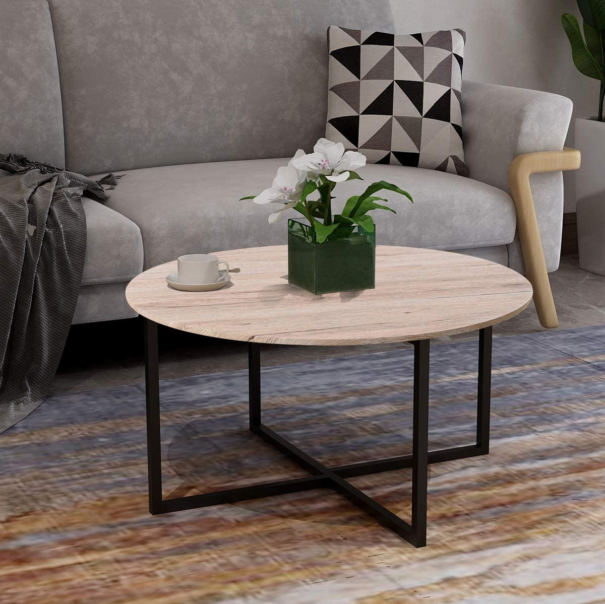 Round Coffee Table Kitchen Dining Table Modern Leisure Tea Table Office Conference Pedestal Desk Computer Study Desk
