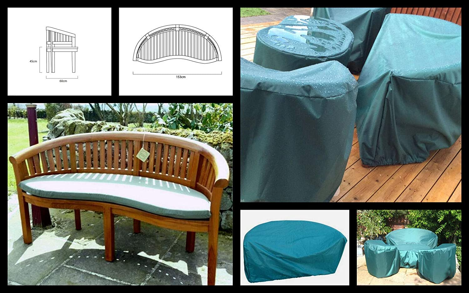 Garden furniture Moon Zippy Waterproof Fabric BANANA BENCH COVER also fits Peanut And shaped benches DARK GREEN