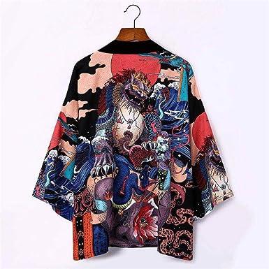 Kimono Japonés Hombres Harajuku Dragon Cardigan Mujeres ...