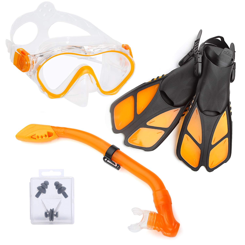 ELEMENTEX Dry Kids Snorkel Set Scuba Mask, Fins n Top Valve by ELEMENTEX