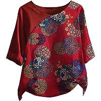 L9WEI Damen Linnen blouse zomer ronde hals 3/4 mouw tops linnen blouse lang hemd grote maten retro bedrukt…
