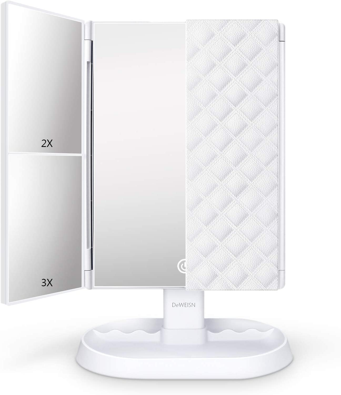 deweisn Trifold Lighted Vanity Makeup Mirror with 21 LEDs Lights,1x/2x/3x Magnification and Touch Screen Dimming,Two Power Supplies Makeup Mirror, Gift for Women