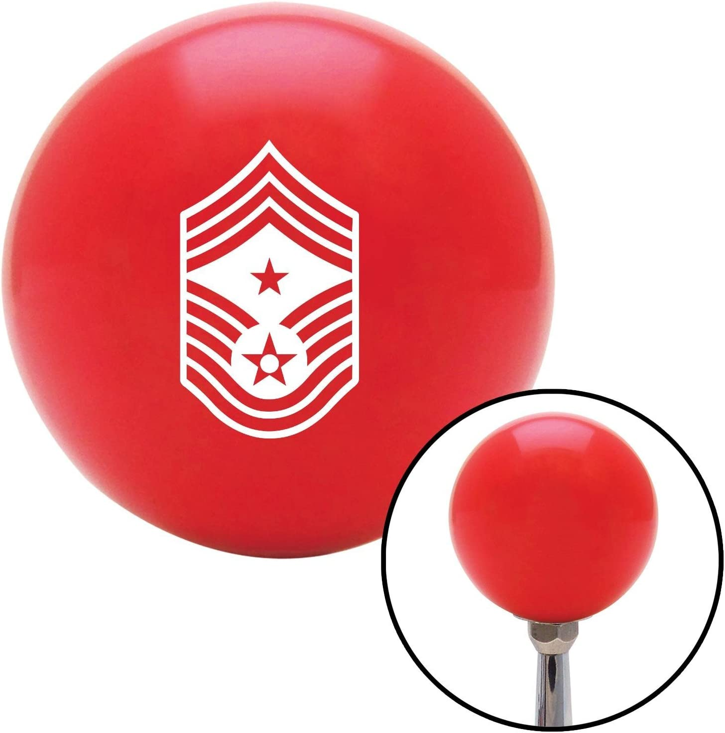 American Shifter 97616 Red Shift Knob with M16 x 1.5 Insert White Command Chief Master Sergeant