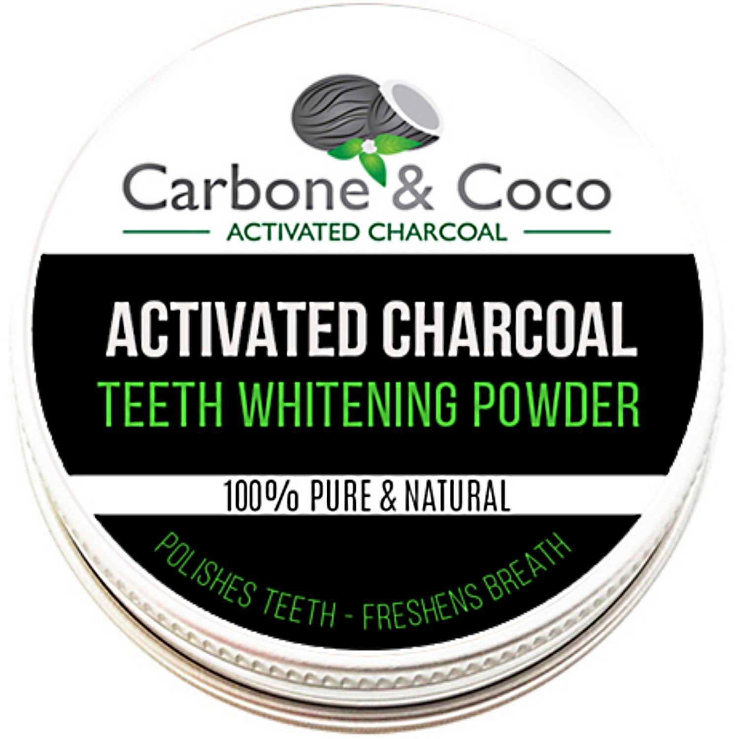 Carbone & CocoTM Coconut Charcoal Activated Whitening Herbal Tooth Teeth & Gum Powder Toothpaste Vegan Organic Peppermint Pure UK Manufactured 100% Natural Flouride Free Polish 30ML product image