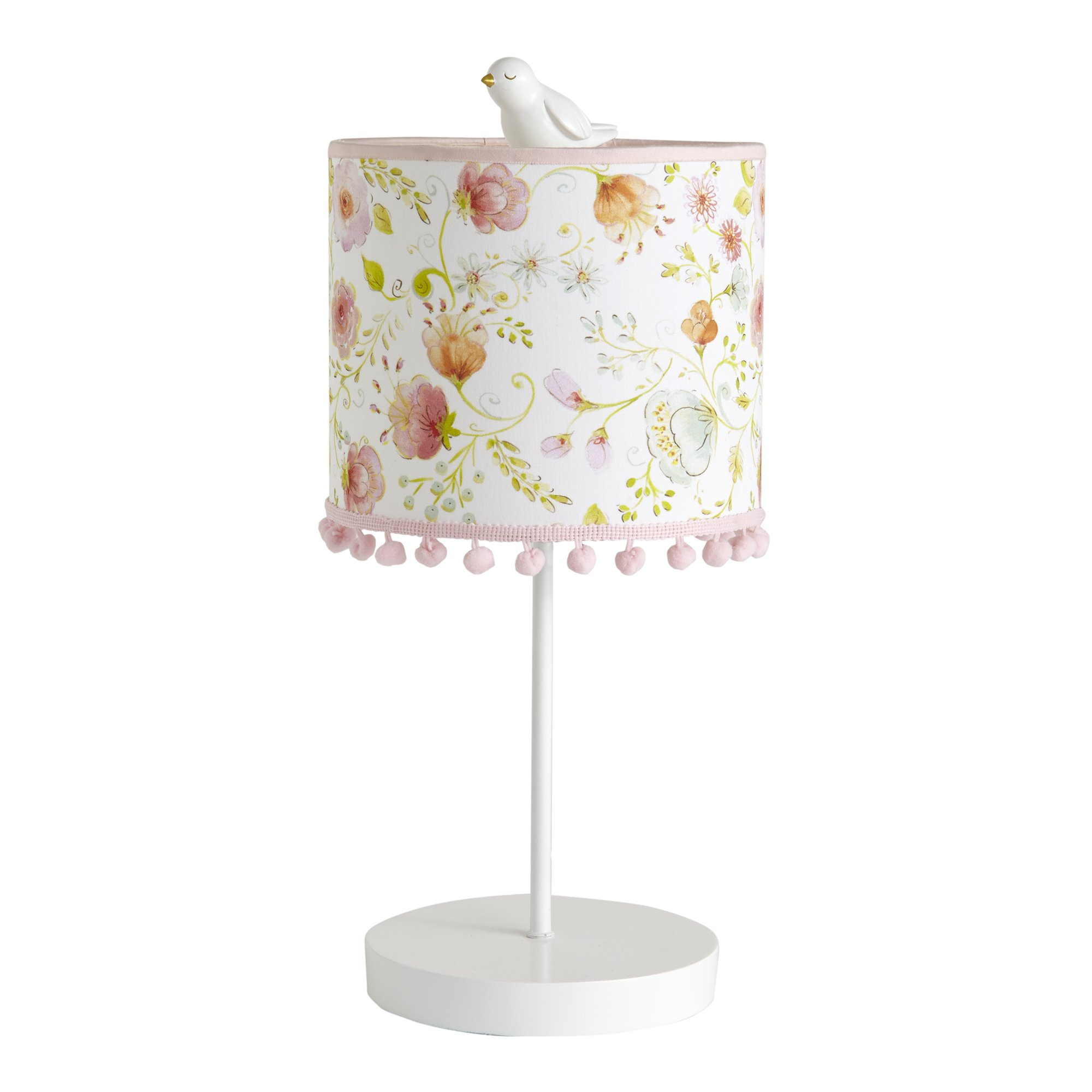 Happi by Dena Sweet Spring Floral Lamp with Shade & Bulb, Pink/White