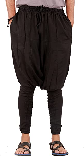 Patterned Solid Harem Genie Low Drop Crotch Pants Handmade Nepal One Size Hippie Boho Fairtrade Unisex Comfortable Pockets Baggy Elastic