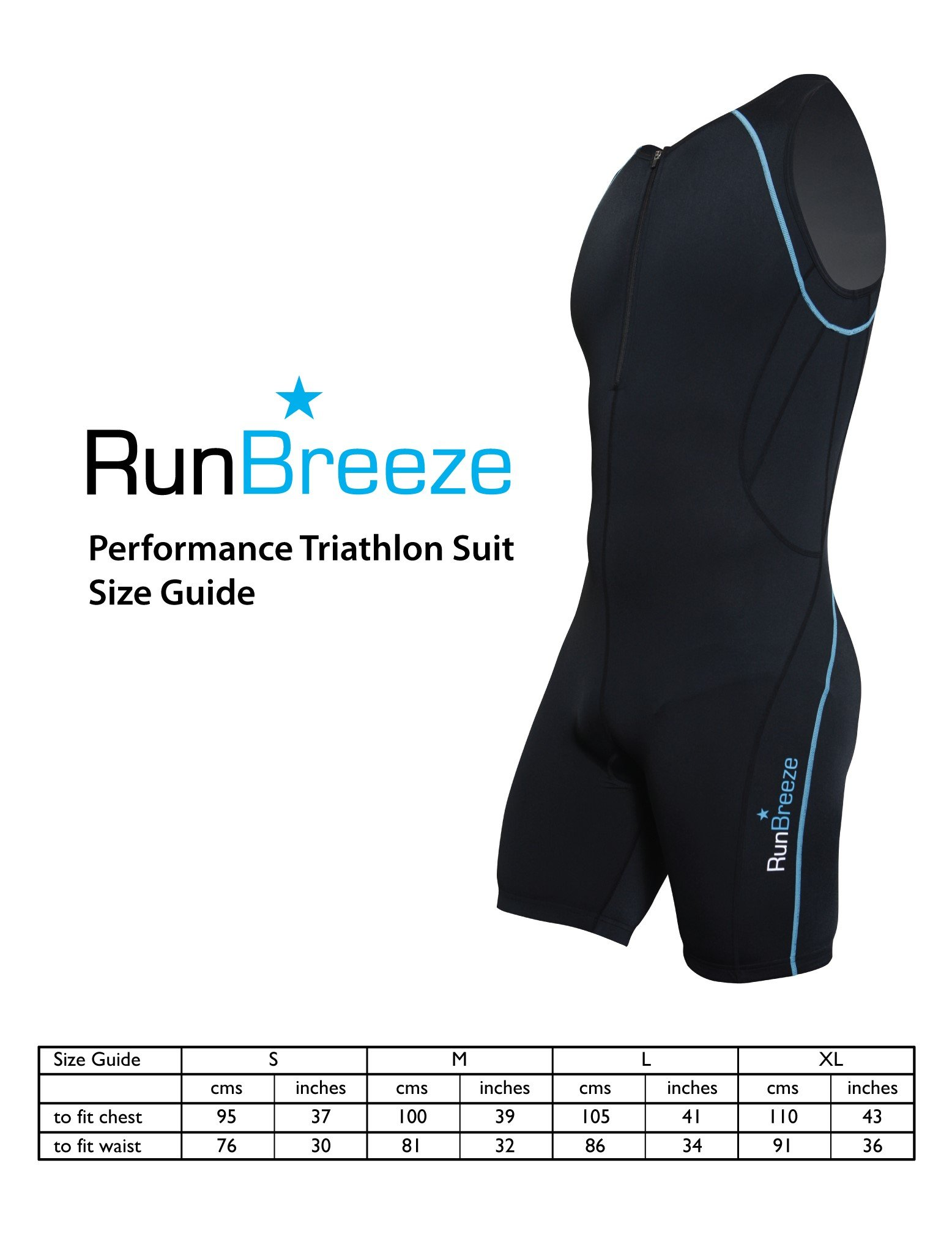 RunBreeze Men's Triathlon Suit   Breathable, Quick-Drying Tri Suit with Dual Rear Pockets (Black, Small)