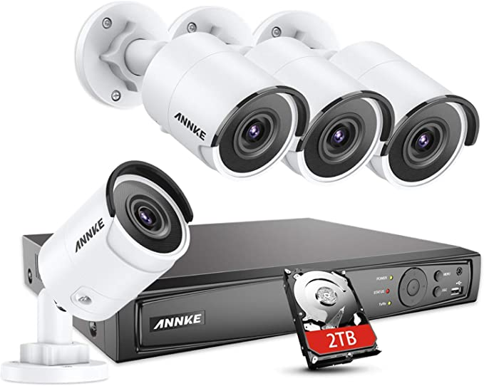ANNKE 16CH 4K PoE NVR Ultra HD IP Home Security Camera System Video Recorder with 2TB Hard Drive Support 8MP//5MP//4MP//1080p//720p HD 24//7 Surveillance Recording