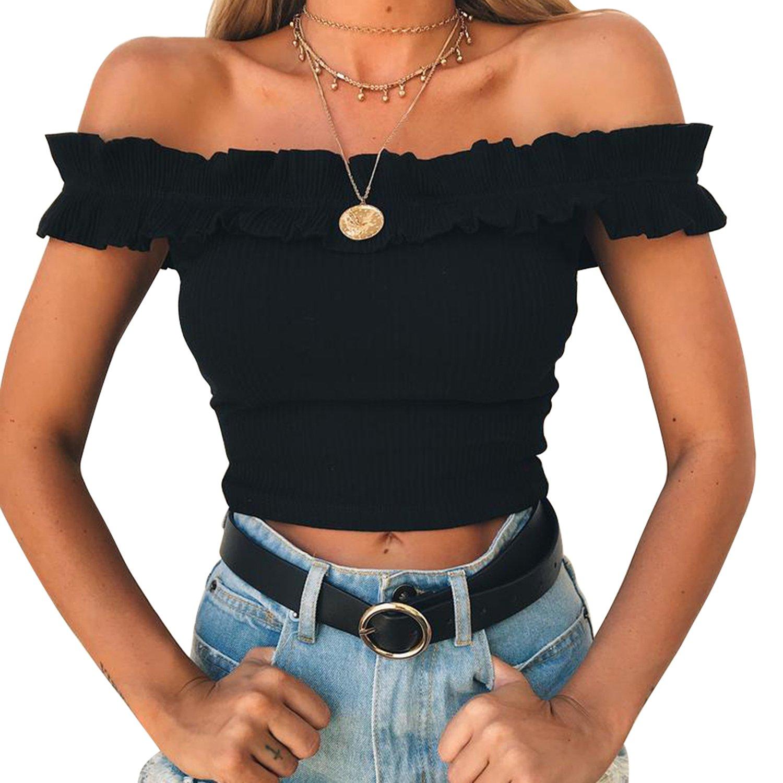 Yizenge Women's Off Shoulder Crop Tops Summer Short Sleeves Casual Slim Tees (Small, Black)