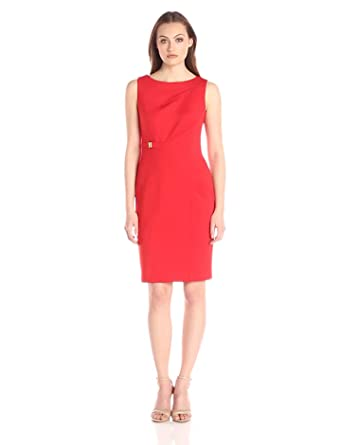 Amazon.com: Calvin Klein Women's Sheath Dress with Front Cutout ...