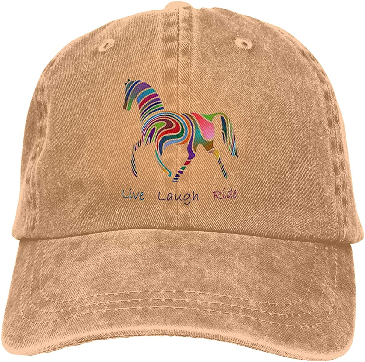 Rainbow Bling Horse Solid Color Baseball Cap Adjustable Cotton Sun Hats Unisex
