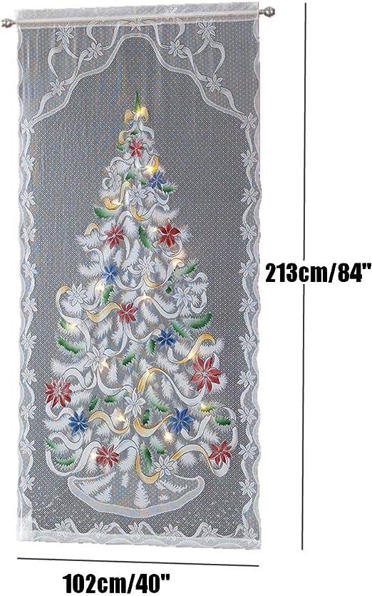 LED LIGHT CHRISTMAS TREE LACE CURTAIN SEMI-SHADING WINDOW DRAPE XMAS HOME DECOR