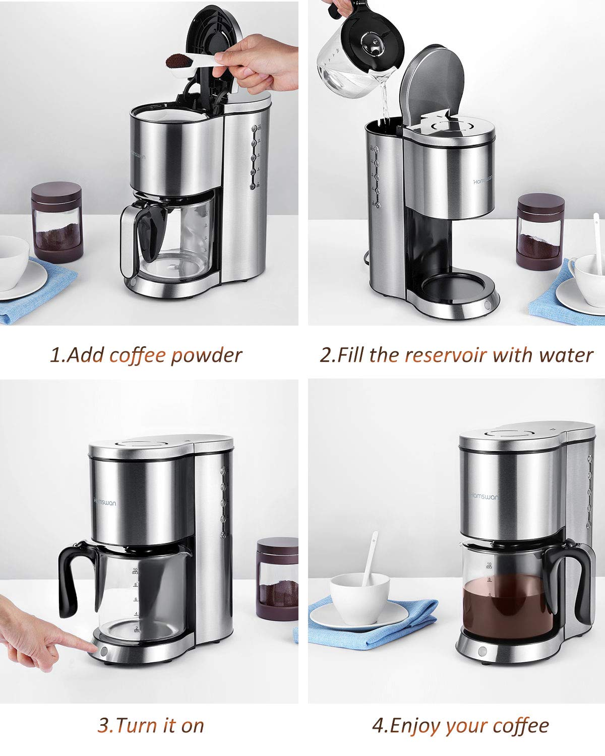 Drip Coffee Maker, HAMSWAN AD-103 Stainless Steel Coffee Maker Coffee Pot, Small 10 Cup Coffee Machine with Glass Thermal Carafe, Insulated, Keep Warm, Automatic Shut Off for Single Serve & House Use by HAMSWAN (Image #5)