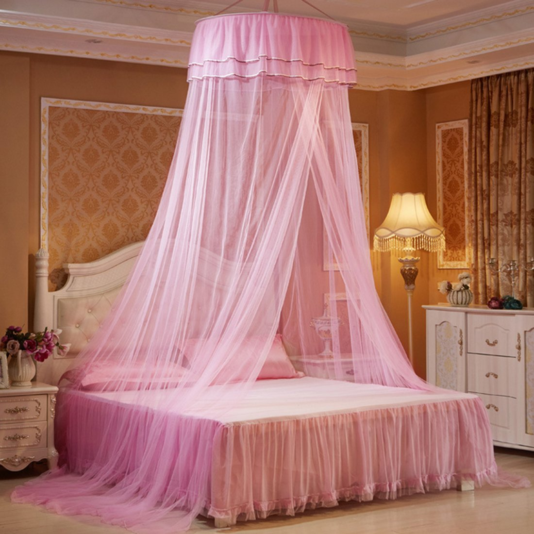 PeleusTech Hanging Mosquito Net Princess Bed Canopy Netting with Elegant Lace Dome - White