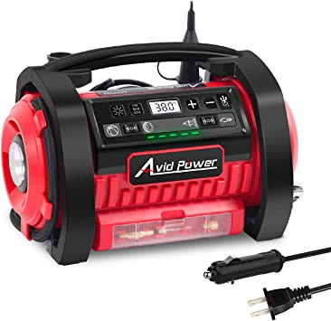 Avid Power Dual Powerful Motors Digital Pressure Gauge 12V DC // 110V AC Dual Power Tire Pump with Inflation and Deflation Modes Tire Inflator Air Compressor