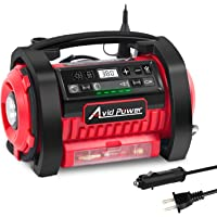 $69 » Avid Power Tire Inflator Air Compressor, 12V DC / 110V AC Dual Power Tire Pump with Inflation and…