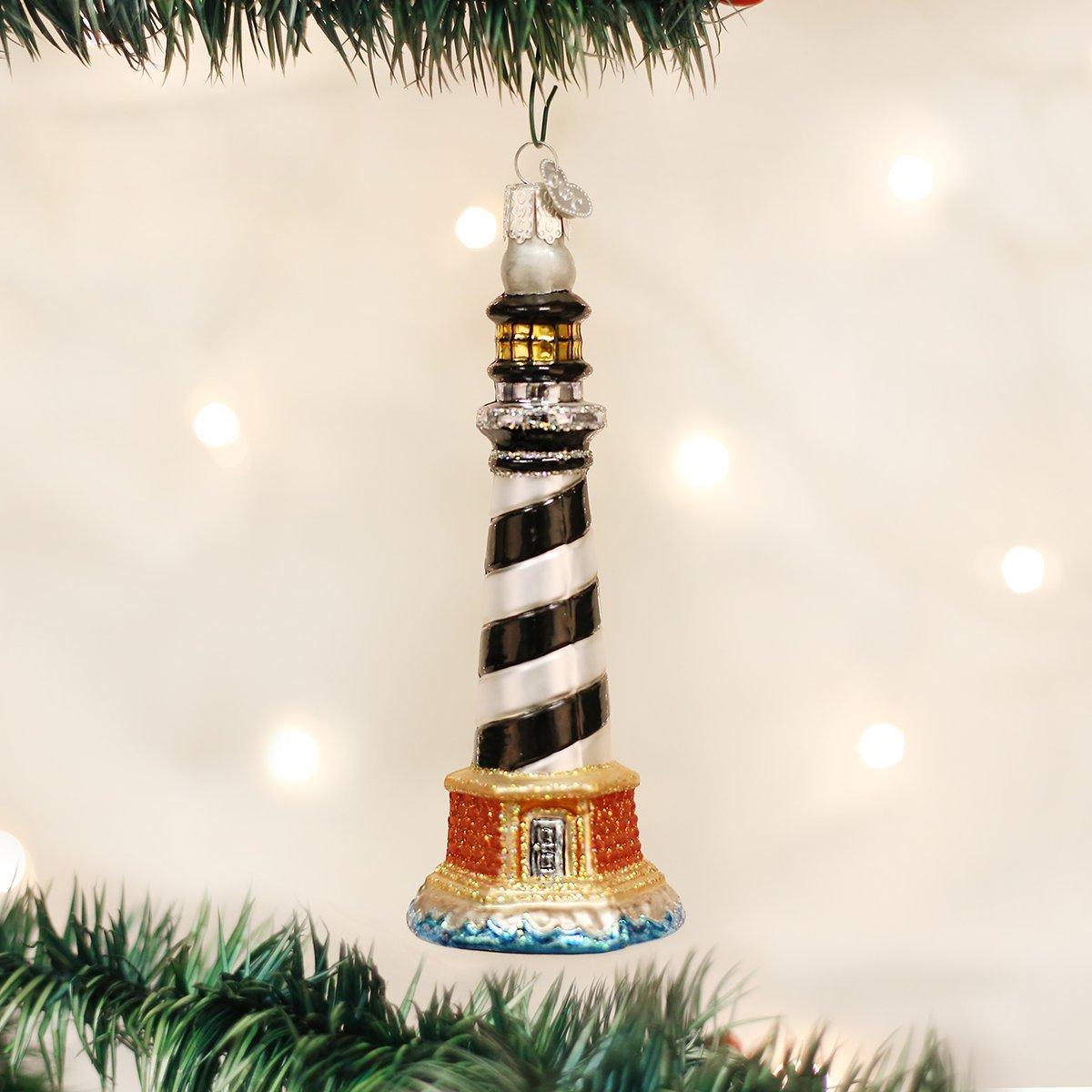 Old World Christmas Holiday Lighthouse Glass Blown Christmas Tree Ornament Nautical