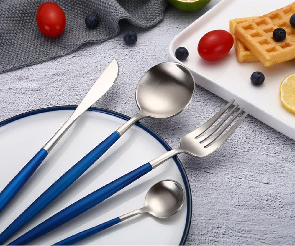 1セット、ブルーとシルバーのヨーロピアン食器304ステンレススチール – 食器セット、ステンレススチールのウエスタン食器、食器食器セット、ホームキッチン ホテル レストラン、テーブルウェア、ギフトに最適   B07GZ2PRS4