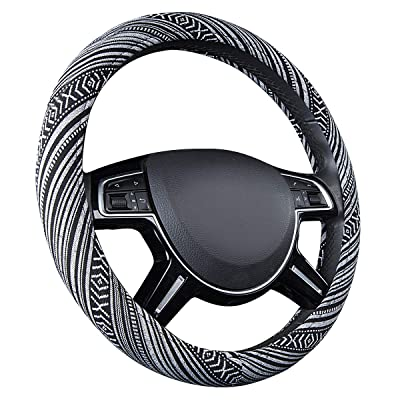 CAR PASS New Arrival Flax Cloth Pretty Ethnic Style Universal Fit Steering Wheel Cover, Fit for Suvs,Sedans,Cars,Trucks (Black And white): Automotive