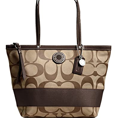789e1fa4e249 Amazon.com: New Authentic COACH Signature Stripe Mahogany Brown Tote ...