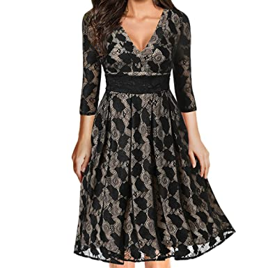 ba9b8d61e5c83 Ez-sofei Women s 1950s Vintage 3 4 Sleeve V Neck Lace Floral Cocktail Swing  Dress Plus Size at Amazon Women s Clothing store