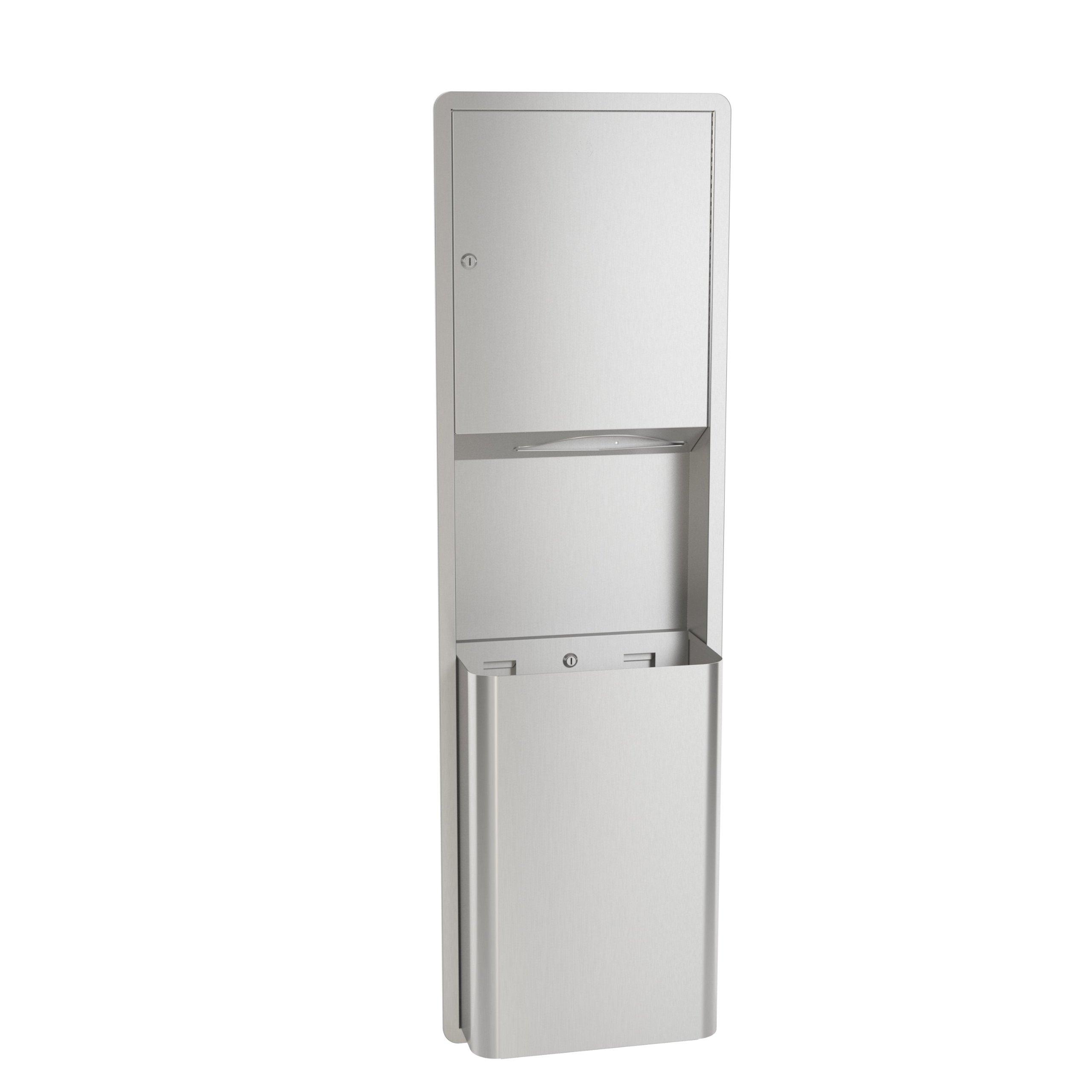 Bradley 234-100000 Standard Stainless Steel Semi-Recessed Mounted Towel Dispenser/Waste Receptacle, 17-1/8'' Width x 56'' Height x 8-25/32'' Depth