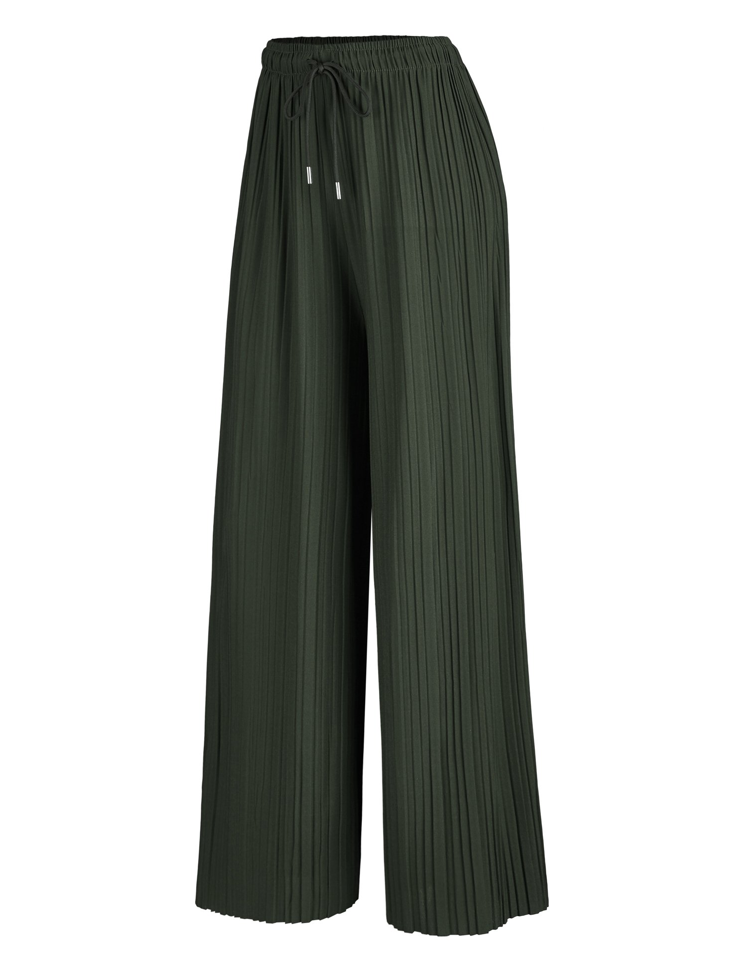 WB1485 Womens Pleated Palazzo Pants With Drawstring OS Olive