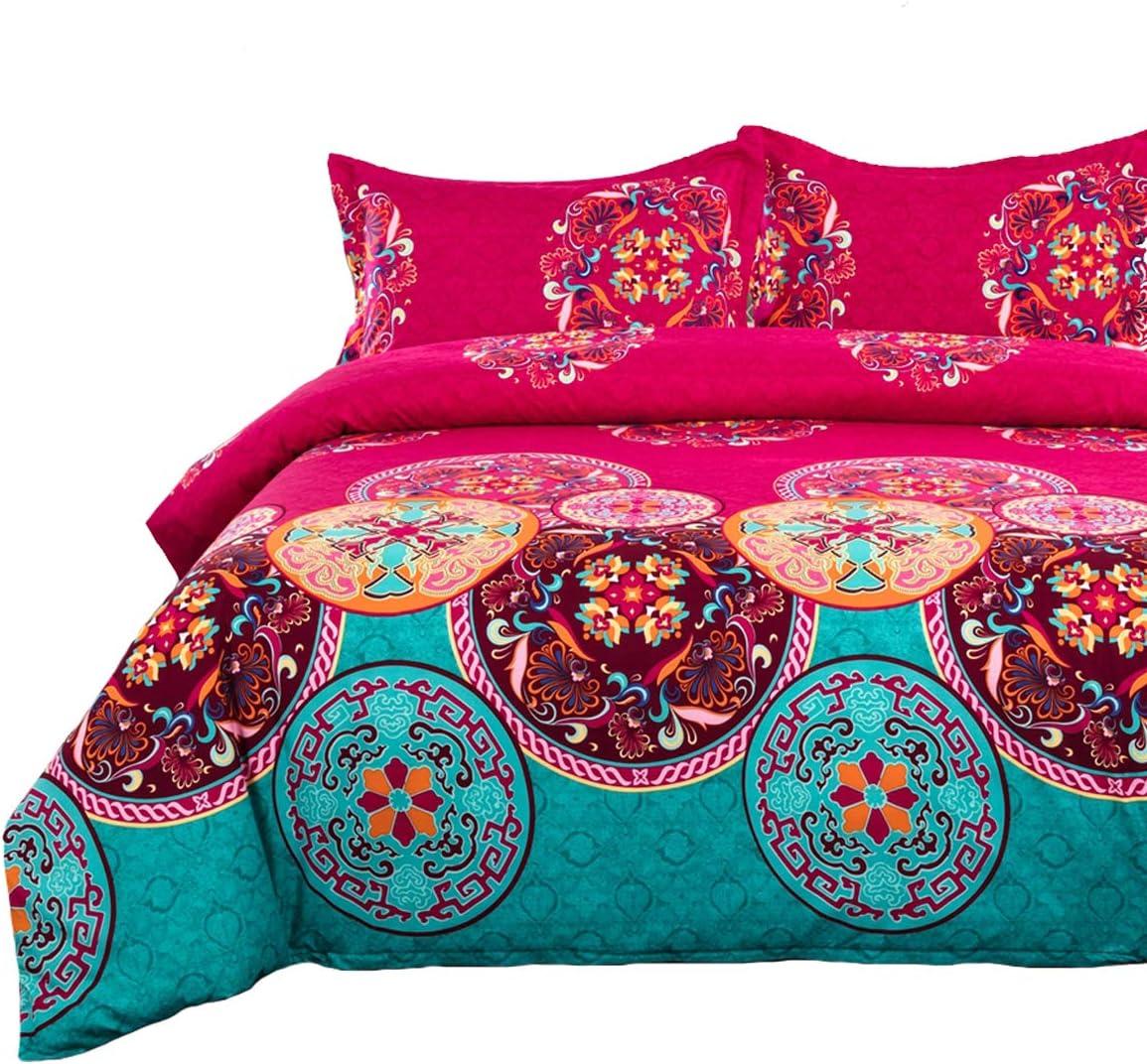 "Bohemian Duvet Cover Full, Soft Microfiber Mandala Bedding Duvet Cover with Zipper Closure Boho Chic Floral Printed Bedding, 3 Pieces (1 Duvet Cover + 2 Pillowcases), Full Size 79""x 90"""