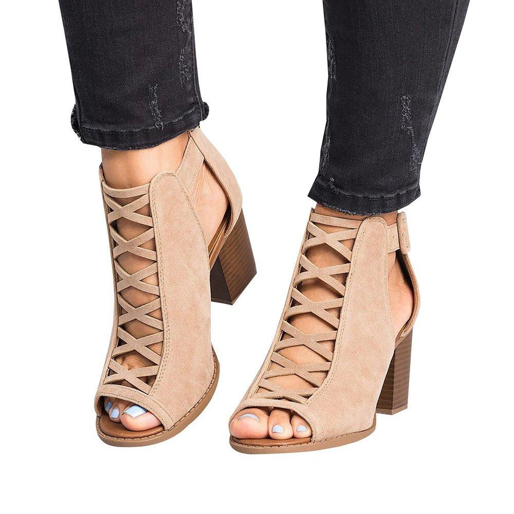 Blivener Women's Open Toe Sandals Ankle Strap Platform Zipper Back High Heel Beige EU40