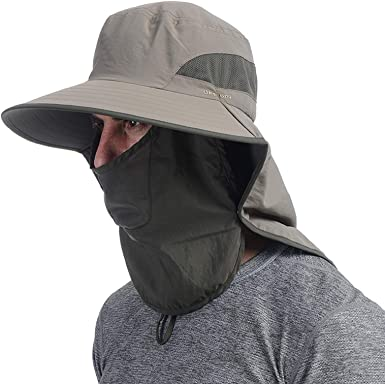 Outdoor Sun Shield Neck Face Mask Mesh Floppy Flap Hat Cap Visor Sunbonne Hs