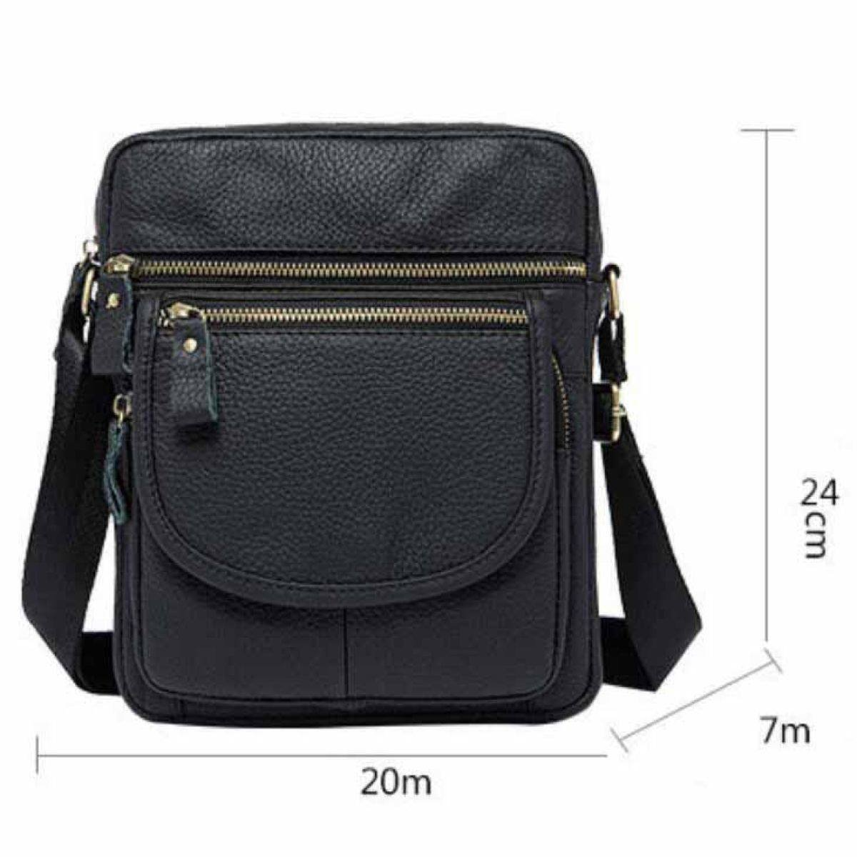 BAAFG Mens Shoulder Bag Leather Zipped Boy Over Shoulder Bag Small Lightweight Long Strap for Phone IPad Mini,Coffee-OneSize